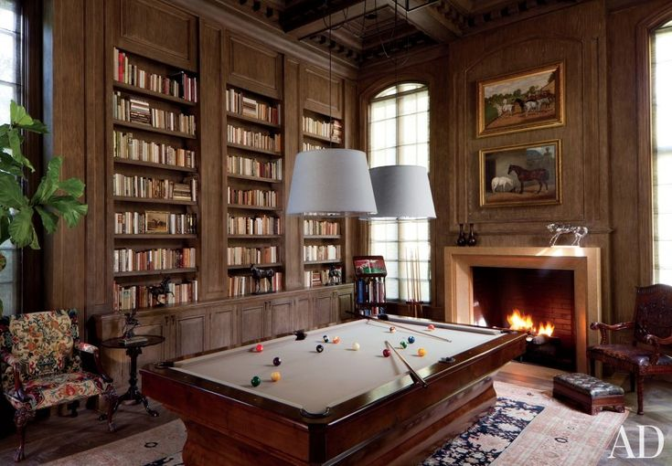 High style and at-home fun come together in these billiard rooms.