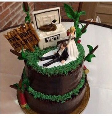 the hunt is over grooms cake grooms table