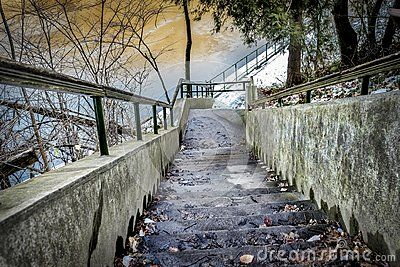 Winter scenery, stairs, leads to fences, frozen lake