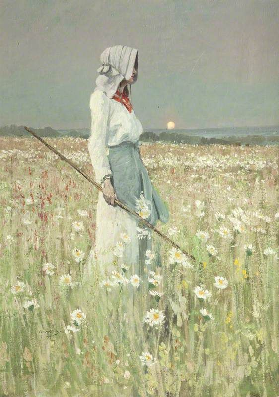 "fletchingarrows:  tinuviele:  William Page Atkinson Wells - Landscape, Girl in a meadow (1905)  this should be its own major arcana tarot card. i would call it ""the shepherdess"""