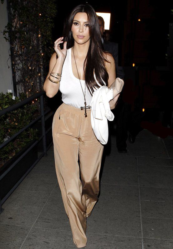 Kim Kardashian with Wide Leg Pants 2012 in '70 Style