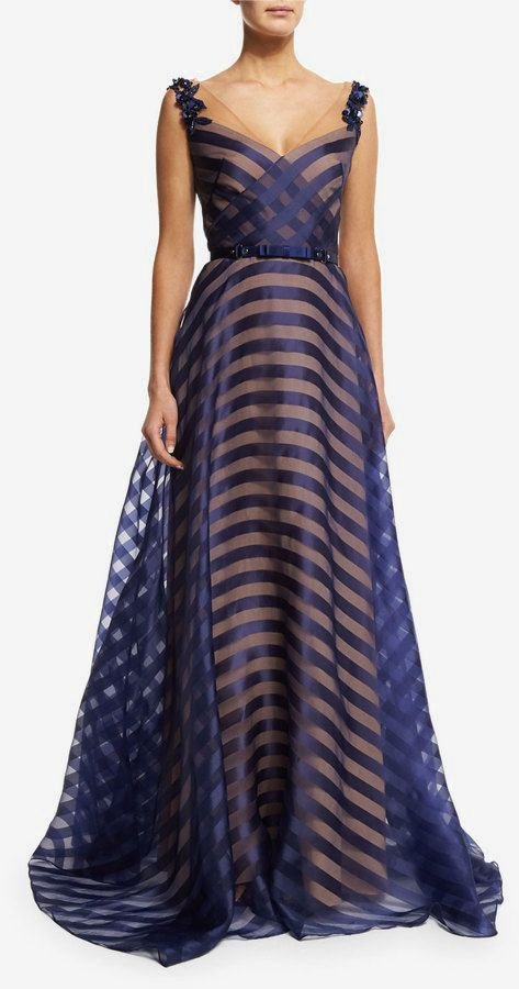 Marchesa Notte Belted Organza V-Neck Gown, Navy