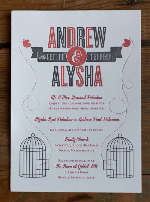 Red + Gray Letterpress Wedding Invitations