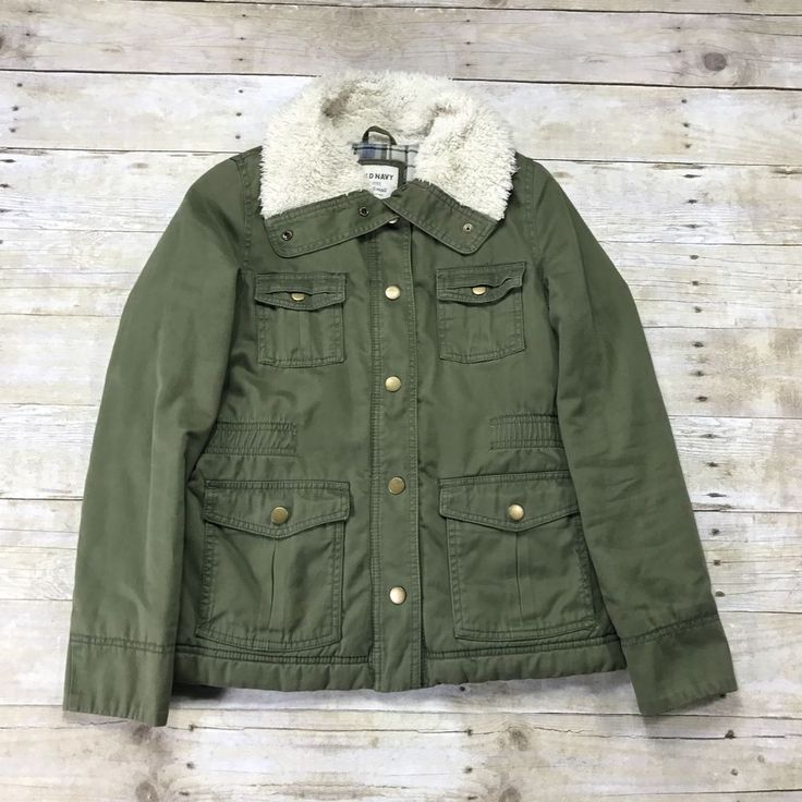 Old Navy Army Green Jacket Parka Womens Size X-Small XS