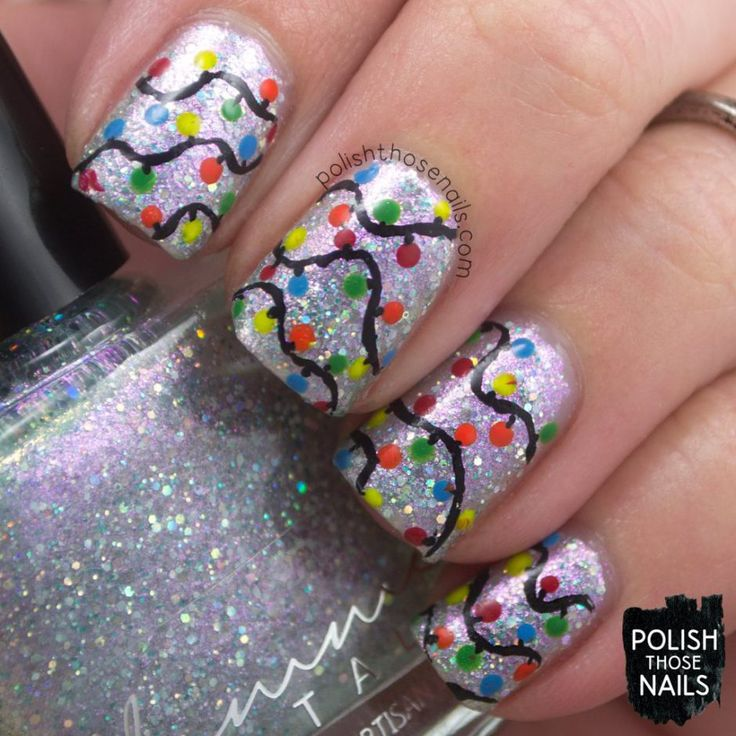 Christmas Lights Nails Pinterest: 43 Best Christmas Lights Nail Art Designs Images On