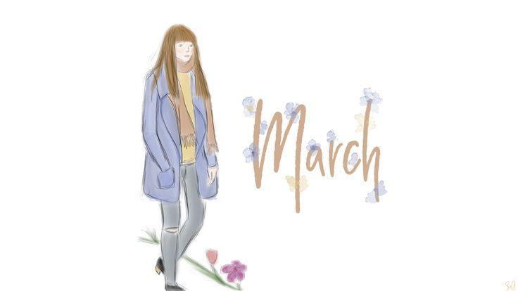 Wallpaper, Freebie, March, März, Outfit, Zeichnung, Spring, Desktop, Hintergrund, Smartphone