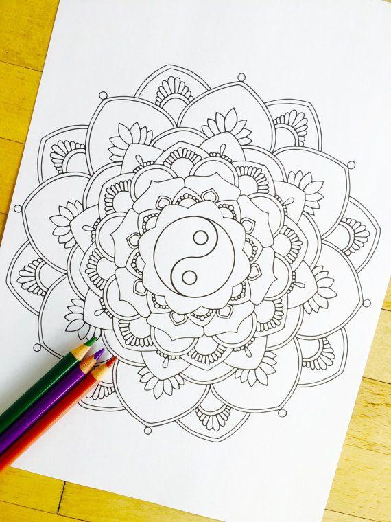 Mandala Yin Yang  Hand Drawn Adult Coloring Page by MauindiArts