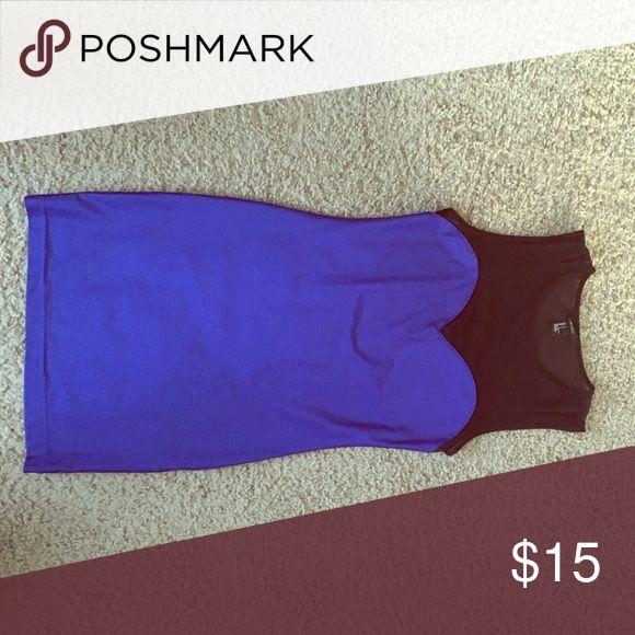 Electric blue bodycon dress Excellent condition, Electric blue bodycon dress with mesh neckline Forever 21 Dresses Mini