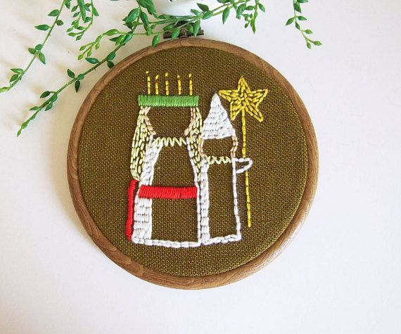 Saint Lucia and Star Boy Handmade hoop embroidery by