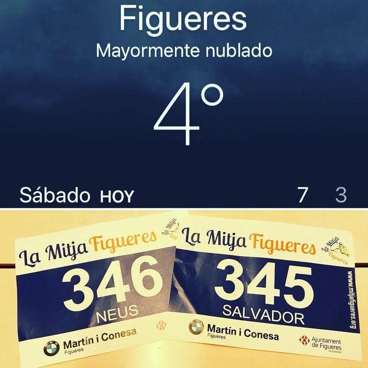 Tot a punt per fer el meu primer intent de mitja marató amb la @verdaguerneus!!! Demà a Figueres ens espera fred tramontana 21.097 metres i endorfines a dojo en tot un repte per mi!!!!