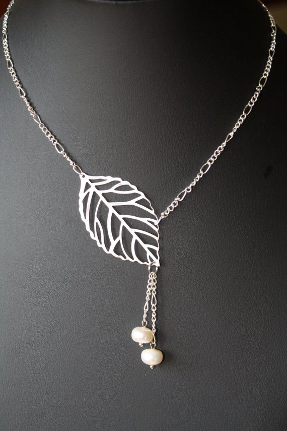 leaf and pearl necklace  short necklace  by BijouxKarmaJewelry, $17.60