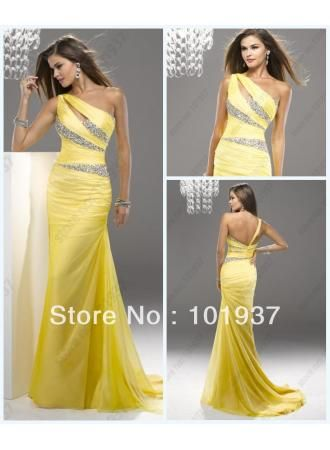 Free Shipping Pageant Yellow One Shoulder Ruffle Saclloped Evening Dresses For Women
