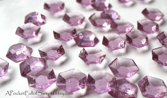 100 Lavender Edible Sugar Jewels Light by APocketFullofSweets, $15.99
