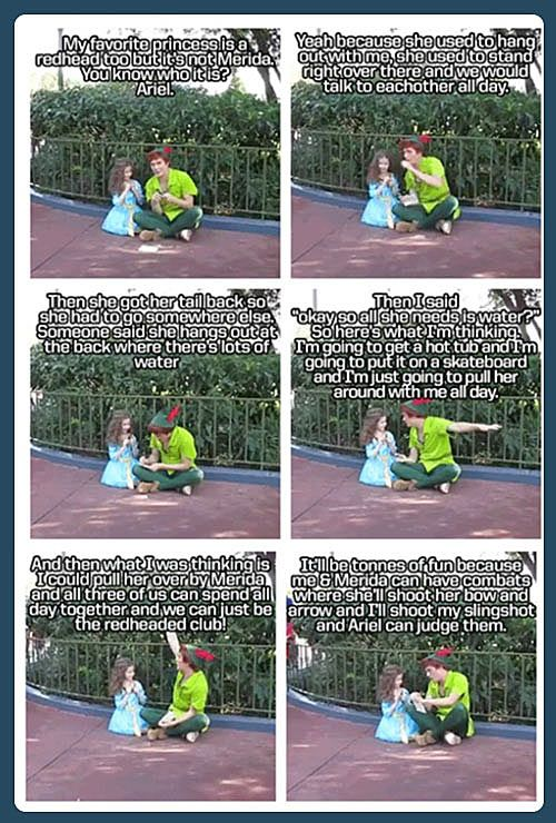 I've never met the Peter Pan in Disneyland, but I've officially decided he's my favorite. This is adorable!