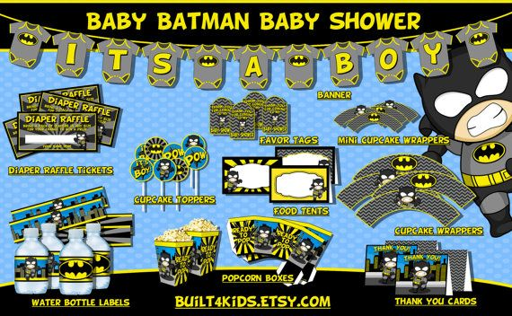 Baby Batman Baby Shower Party Package/ Instant by Built4Kids
