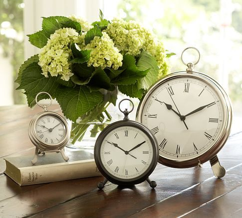 Beautiful alarm clocksVintage Clocks, Alarm Clocks, Guest Bedrooms, Old Clocks, Living Room, Pocket Watches, Ticktock, Tick Tock, Pottery Barns