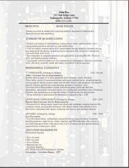 sample cover letter for bank teller position