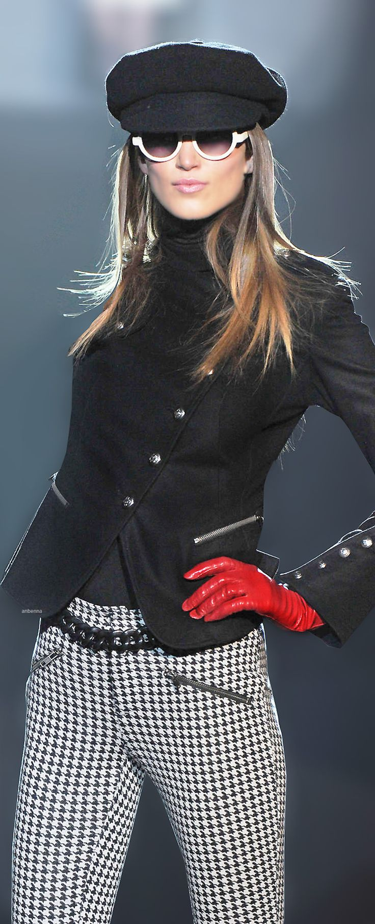 Betsey Johnson~I love the whole outfit especially the houndstooth trousers and Sargent Pepper's jacket!