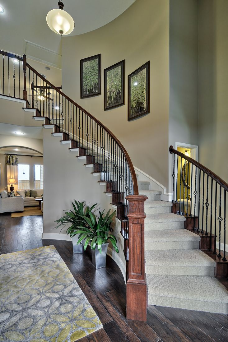 Beautiful Spiral Staircase With Wrought Iron Spindles
