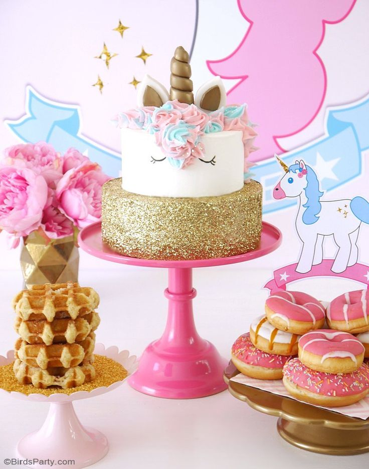 A Unicorn Birthday Slumber Party   With DIY Decorations Ideas, Party  Printables, Food,