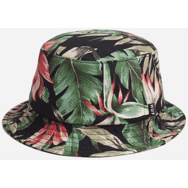 Huf Waikiki Bucket Hat - Black ($46) ❤ liked on Polyvore featuring accessories, hats, bucket hats, headwear, black, huf hats, fisherman hat, black summer hat, fishing hats and black hat