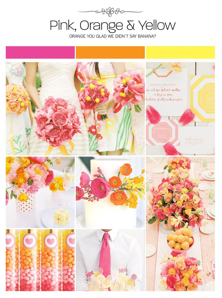 Pink, orange and yellow wedding inspiration board, color palette, mood board via Weddings IllustratedPink, orange and yellow wedding inspiration board, color palette, mood board via Weddings Illustrated