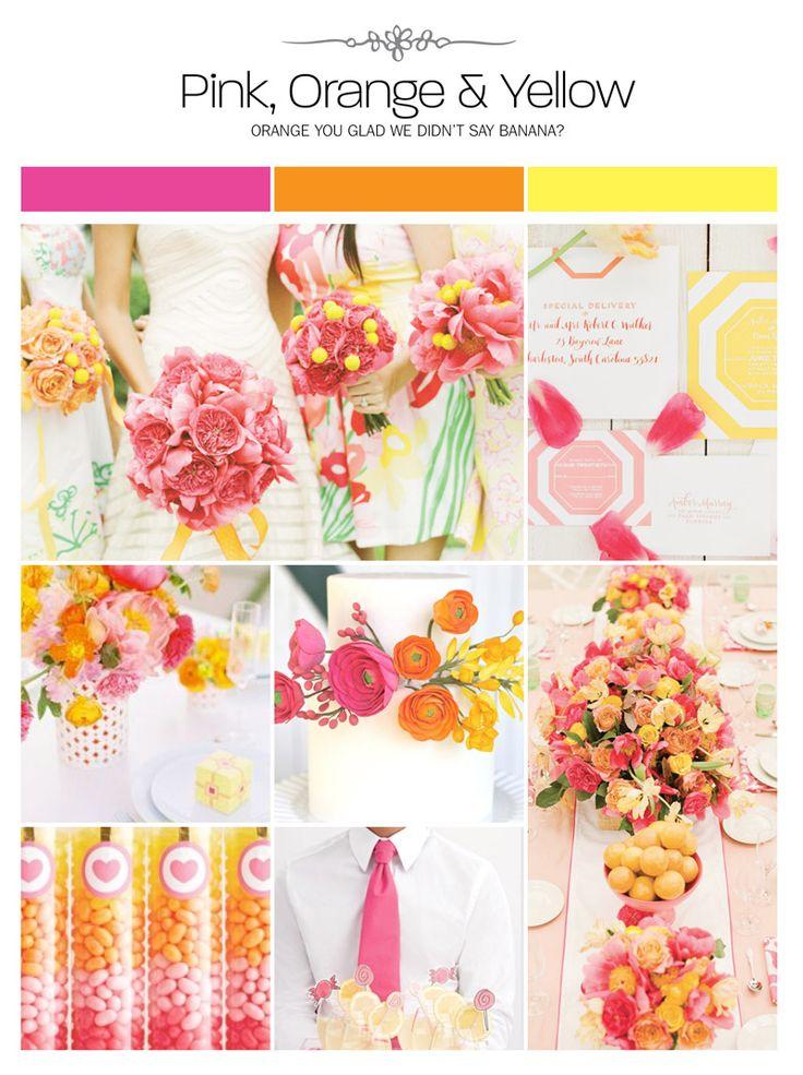 Pink, orange and yellow wedding inspiration board, color palette, mood board via Weddings IllustratedPink, orange and yellow wedding inspiration board, color palette, mood board via Weddings Illustrated