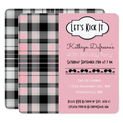 """#""""Let's Kick It"""" Pink Plaid Birthday Invitation - #birthday #gifts #giftideas #present #party"""