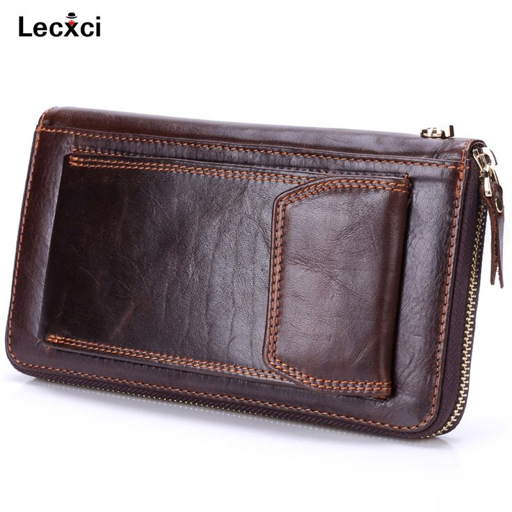 Lecxci Mens Genuine Leather Clutch Bag Handbag Organizer Checkbook Wallet Card Case Wrist Wallet Bag with Cell Phone Holder