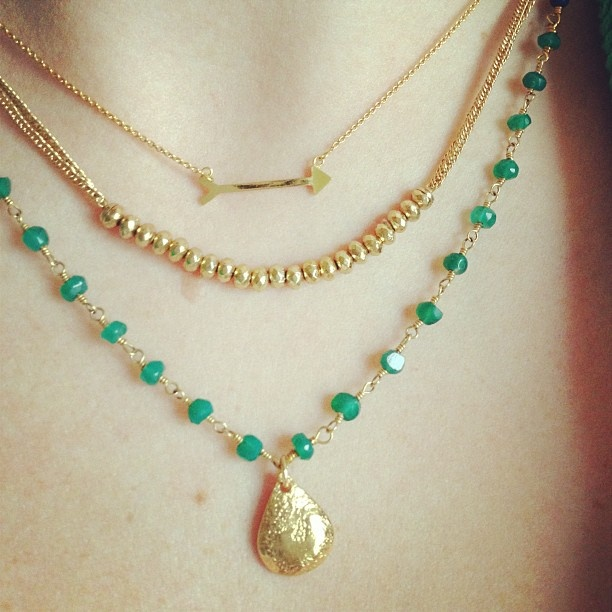 Green and gold. Necklaces by Stella & Dot