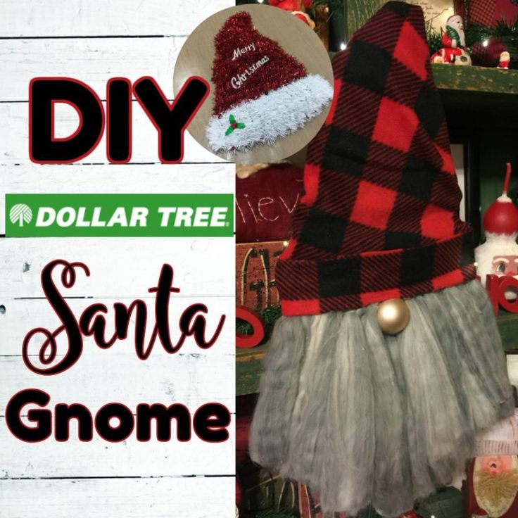 Gnome Santa using Dollar Tree Items in 2020 Dollar tree