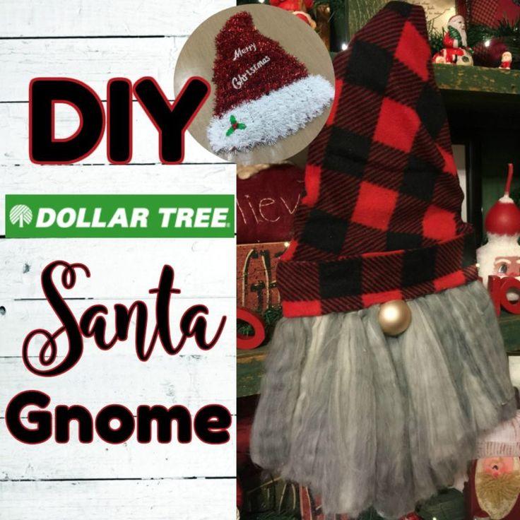 Gnome Santa using Dollar Tree Items in 2020 Dollar tree