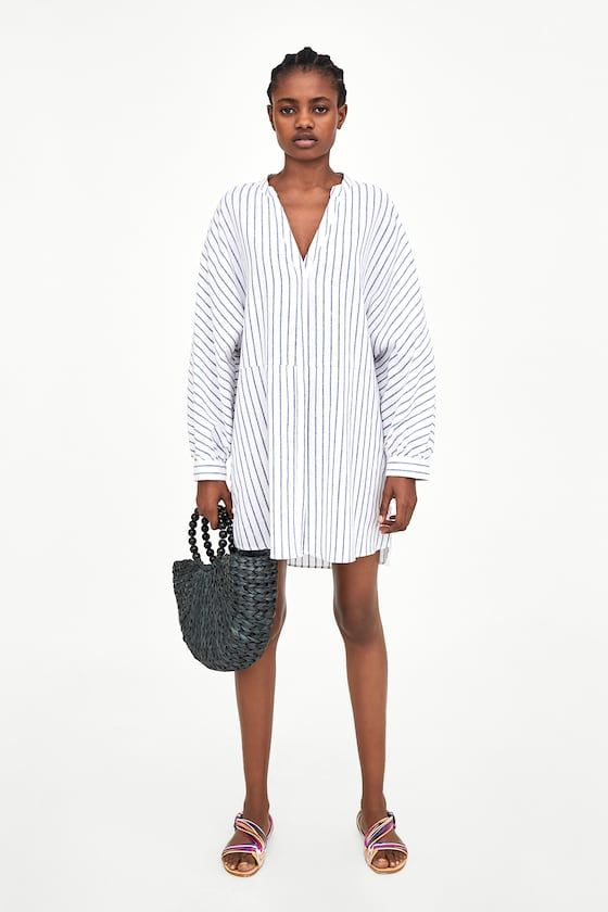 5dc939daee9 ZARA - TRF - OVERSIZED SHIRT Oversized Striped Shirt