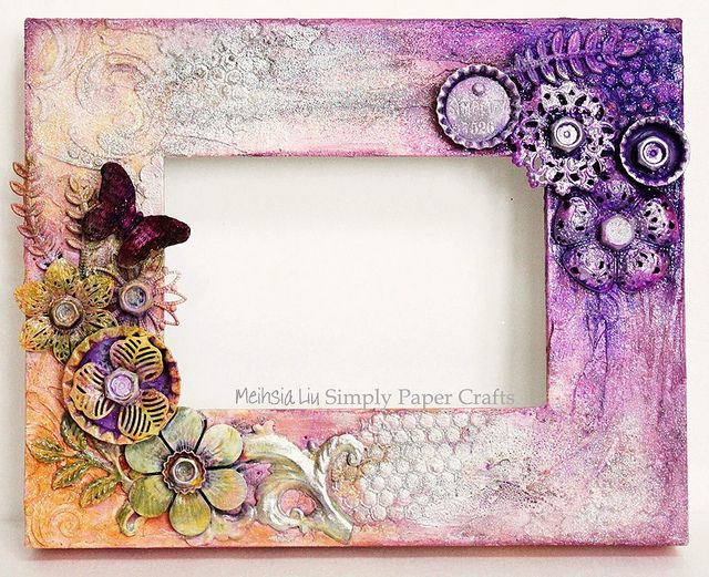 Glittered Mixed Media Altered Frame by Meihsia for the Simon Says Stamp Monday Challenge Blog.  December 2013