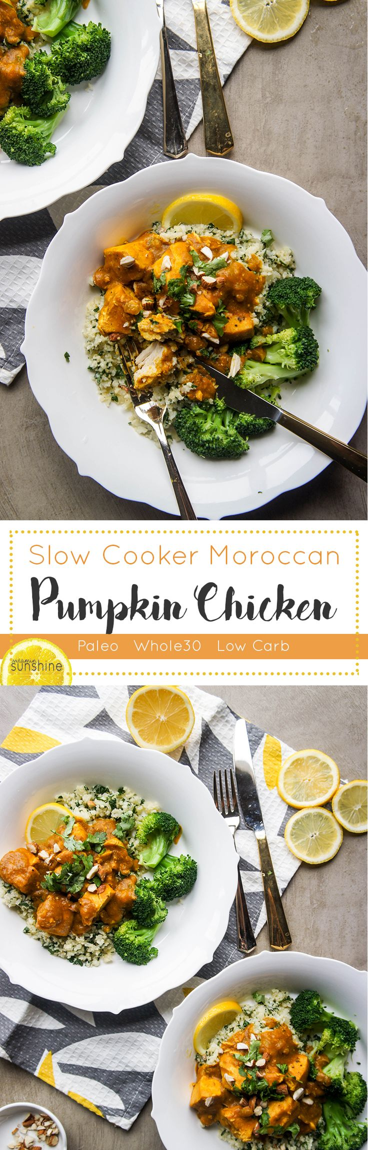 Slow Cooker Moroccan Pumpkin Chicken / Tons of flavor and spice #Paleo #Whole30 #chicken #dinner #slowcooker #crockpot