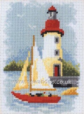 Buy Lighthouse and Boat Cross Stitch Kit Online at www.sewandso.co.uk