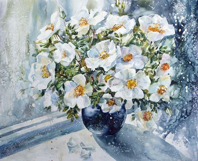 Савинова Роза Фаритовна. Белый шиповник. Из серии Цветочная феерия (660x538, 526Kb)