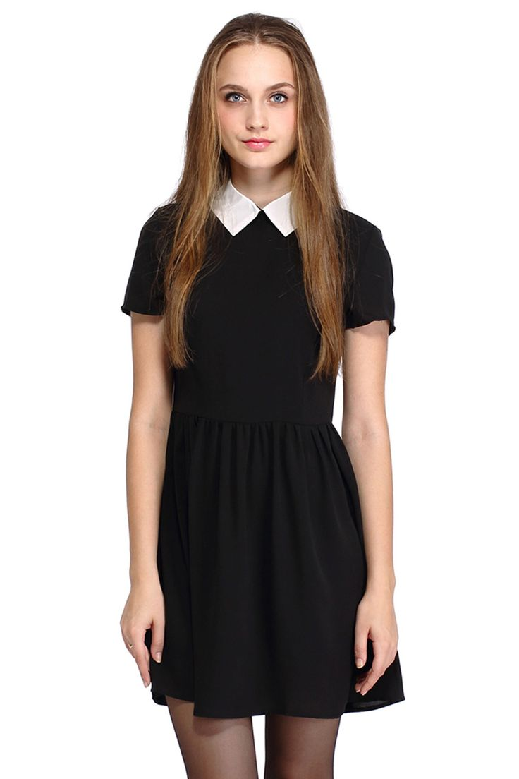 Lush with beauty dress in garden tights and boots short sleeves and - Romwe Dual Tone A Line Little Black Dress