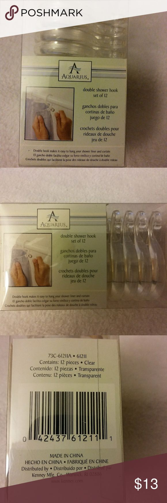 Clear Double Shower Hooks NWT clear double hooks which makes it easier to hang your shower liner and curtain. Kenny Mfg. Co. Other