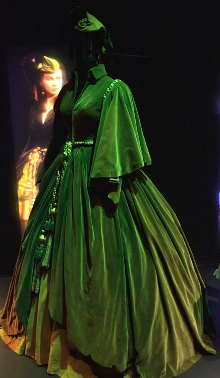 "The infamous green ""Curtains Gown"", worn by Vivien Leigh as Scarlett O'Hara in ""Gone With the Wind"", on display in the Hollywood Costume Exhibit at the Victoria and Albert Museum."
