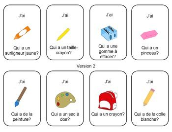 J'ai...Qui a? - La rentrée scolaire (Back to School I have... who has in French)