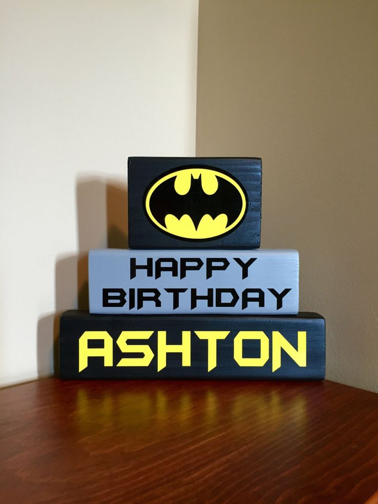 Batman Personalized Birthday Party Happy Birthday Sign Banner Decor Centerpiece Boy's Birthday Wood Block Set by CraftyWoodzyStore on Etsy https://www.etsy.com/listing/449304248/batman-personalized-birthday-party-happy
