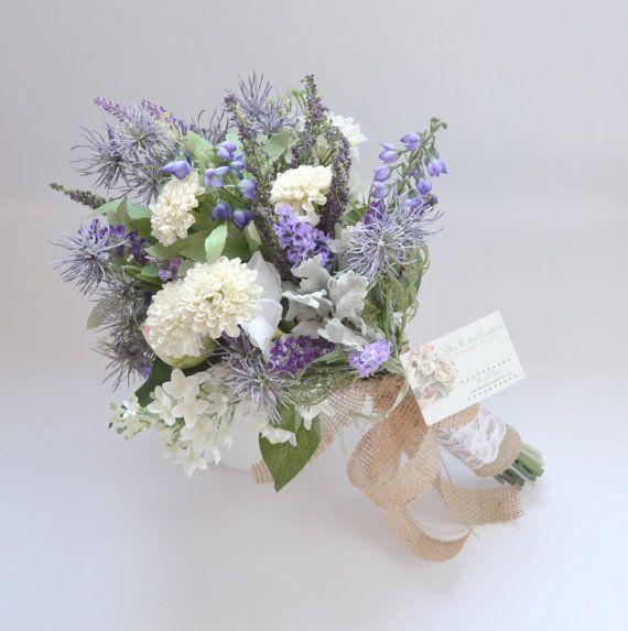Wildflower Bridal Bouquet - Rustic Bouquet, Lavender Bouquet, Shabby Chic Bouquet