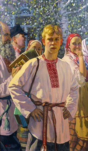A young Russian man in the national shirt decorated with traditional embroidery. Illustration, 1950 - 1960.