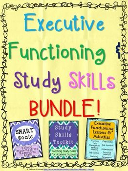Executive Functioning and Study Skills BUNDLE! Over 130 pages of lesson plans, activities, worksheets, forms, posters, bulletin board, and more focused on improving your brain's tools for academic success.