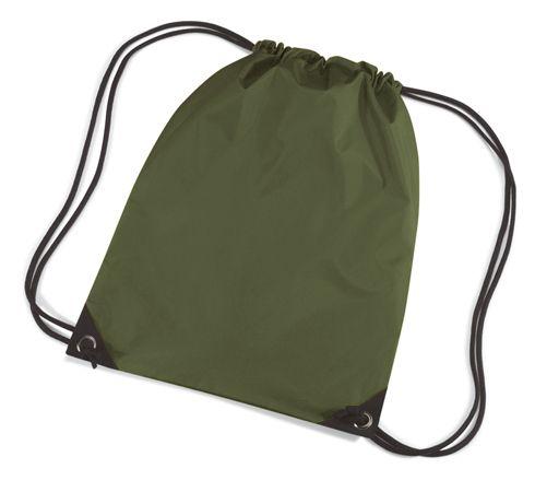 Olijf groene gymtasjes  Nylon gymtas in het olijf van waterafstotende stof en reigkoord. Inhoud: 12 liter. Afmeting: 45 x 34 cm.  EUR 3.50  Meer informatie