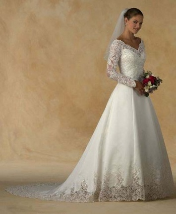 Lace Organza Long Sleeves Wedding Dresses Chapel Train