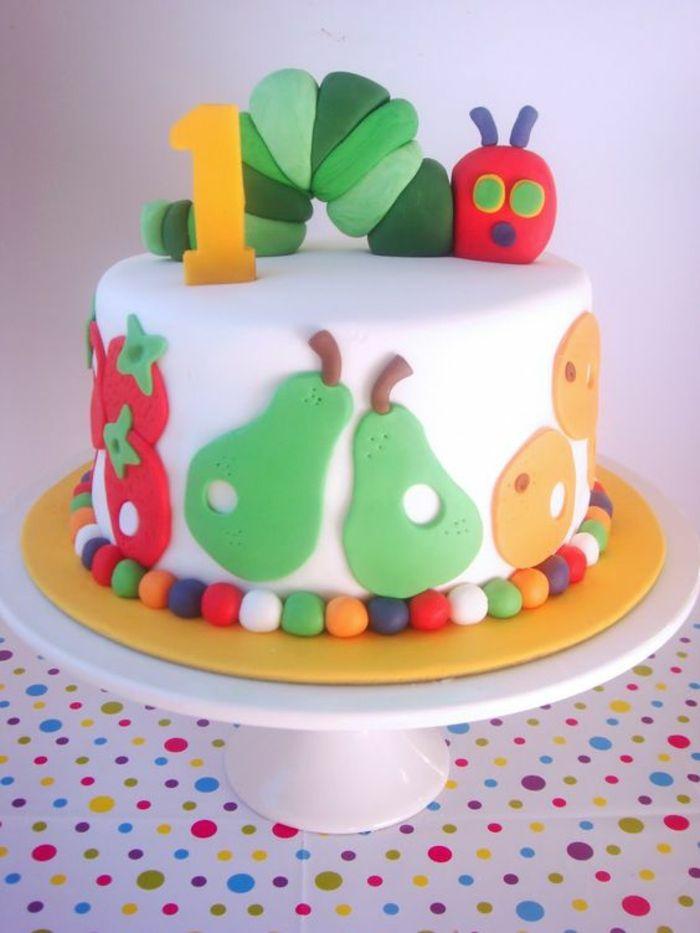 geburtstagstorte kinder lustig farbig raupe früchte