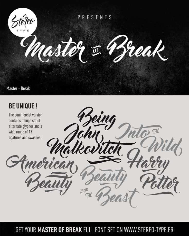Master of Break Free Script Font Introduction Master of Break Font! Master of Break designed and shared by StereoType. Master of Break is an aesthet