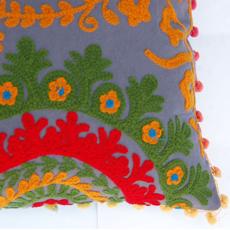 Square Decorative Suzani Handmade Embroidered Cushion Cover Ethnic Hippie Art